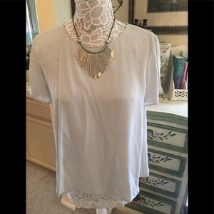 Theory grey blouse very stylish with overlays L